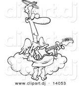 Vector of Cartoon Angel Man Playing a Guitar - Coloring Page Outline by Toonaday