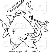 Vector of Cartoon Angelfish Playing a Lyre - Coloring Page Outline by Toonaday