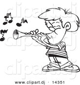 Vector of Cartoon Boy Playing a Clarinet - Coloring Page Outline by Toonaday