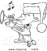 Vector of Cartoon Boy Playing Christmas Music on a Trumpet - Coloring Page Outline by Toonaday