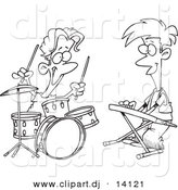 Vector of Cartoon Boys Drumming and Keyboarding in a Band - Coloring Page Outline by Toonaday