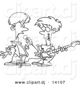Vector of Cartoon Boys Singing and Playing a Guitar in a Band - Coloring Page Outline by Toonaday