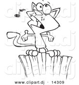 Vector of Cartoon Cat Singing on a Fence - Coloring Page Outline by Toonaday