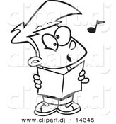 Vector of Cartoon Choir Boy Singing - Coloring Page Outline by Toonaday