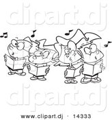Vector of Cartoon Choir Kids Singing - Coloring Page Outline by Toonaday