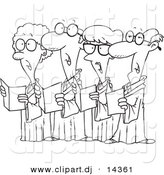 Vector of Cartoon Choir with 4 Senior Men and Women Singing - Coloring Page Outline by Toonaday