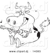 Vector of Cartoon Cow Guitarist - Coloring Page Outline by Toonaday