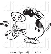 Vector of Cartoon Dog Playing a Saxophone - Coloring Page Outline by Toonaday