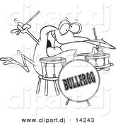 Vector of Cartoon Drummer Frog - Coloring Page Outline by Toonaday