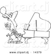 Vector of Cartoon Fancy Pianist - Coloring Page Outline by Ron Leishman