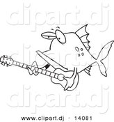 Vector of Cartoon Fish Guitarist - Coloring Page Outline by Toonaday