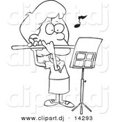Vector of Cartoon Flautist Girl - Coloring Page Outline by Toonaday