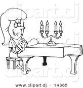 Vector of Cartoon Girl Playing a Piano - Coloring Page Outline by Ron Leishman