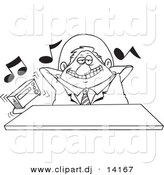Vector of Cartoon Lazy Boss Listening to Loud Music - Coloring Page Outline by Toonaday