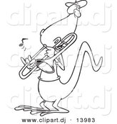 Vector of Cartoon Lizard Playing a Trombone - Coloring Page Outline by Toonaday