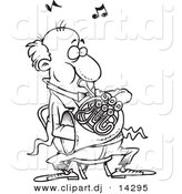 Vector of Cartoon Man Blowing into a French Horn - Coloring Page Outline by Toonaday