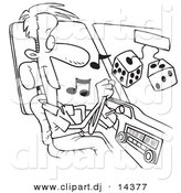 Vector of Cartoon Man Listing to Tunes in His Car - Coloring Page Outline by Toonaday