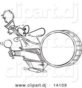 Vector of Cartoon Marching Band Drummer - Coloring Page Outline by Toonaday