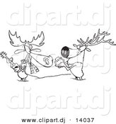 Vector of Cartoon Moose and Elk Jamming in the Snow - Coloring Page Outline by Toonaday