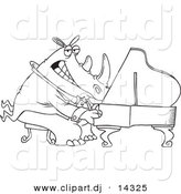 Vector of Cartoon Rhino Pianist - Coloring Page Outline by Ron Leishman