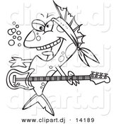 Vector of Cartoon Rocker Fish - Coloring Page Outline by Toonaday