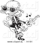 Vector of Cartoon Rocker Robin - Coloring Page Outline by Toonaday