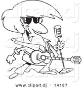 Vector of Cartoon Rocker with a Microphone and Guitar - Coloring Page Outline by Toonaday