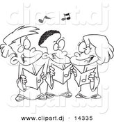 Vector of Cartoon Singing Kids in a Choir - Coloring Page Outline by Toonaday