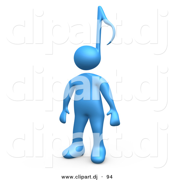 3d Cartoon Clipart of a Blue Character with a Music Note Head Design