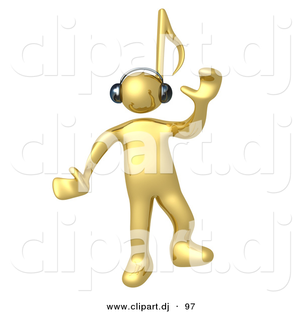 3d Cartoon Clipart of a Happy Gold Man with a Music Note Head, Dancing While Listening to Tunes Through Headphones