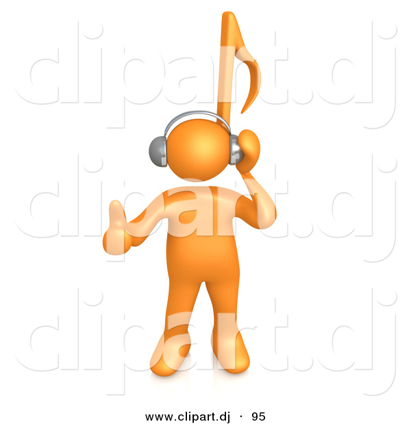 3d Cartoon Clipart of a Orange Guy with Music Note Head