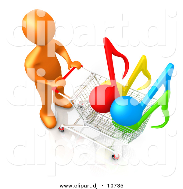 3d Cartoon Clipart of a Orange Man Pushing Shopping Cart with Music Notes