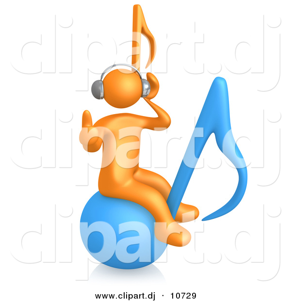 3d Cartoon Clipart of a Orange Man Wearing Wireless Headphones While Sitting on a Blue Music Note