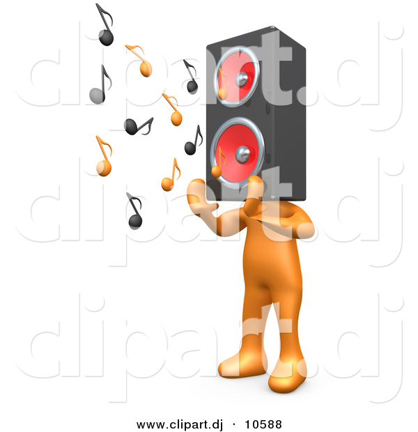 3d Cartoon Clipart of a Orange Man with Speaker Head Playing Loud Music