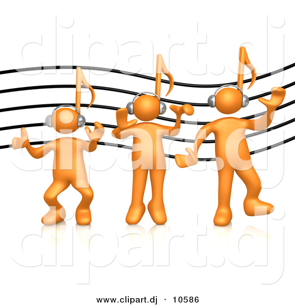 3d Cartoon Vector Clipart of a 3 Orange Music Note Head People Listening to Headphones