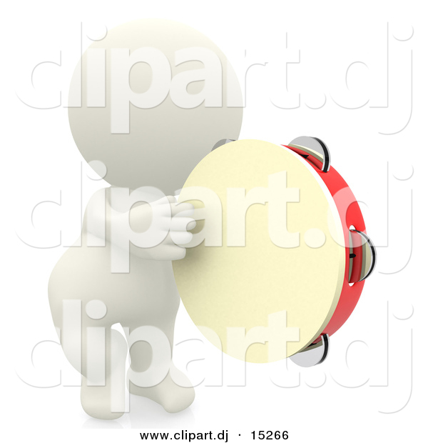 3d Clipart of a 3d White Man Playing Tambourine