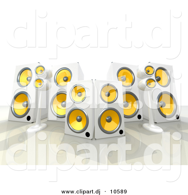 3d Clipart of a 6 White and Yellow Speakers