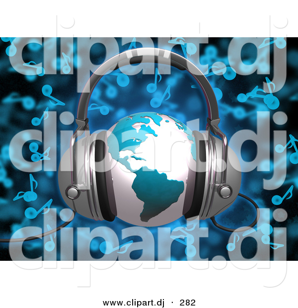3d Clipart of a Blue Globe Wearing Headphones over Blue Music Notes Background