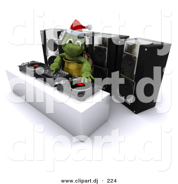 3d Clipart of a Cartoon Turtle Dj Hosting a Christmas Party