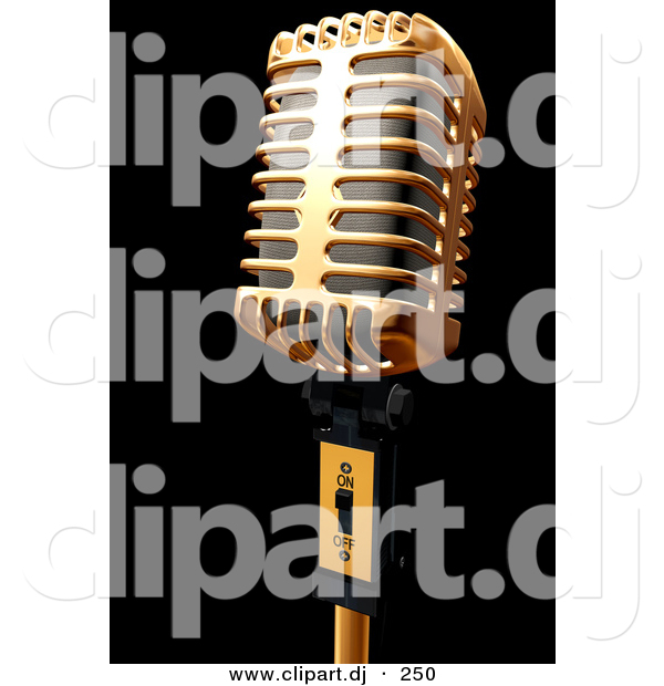 3d Clipart of a Gold Metal Microphone on Black