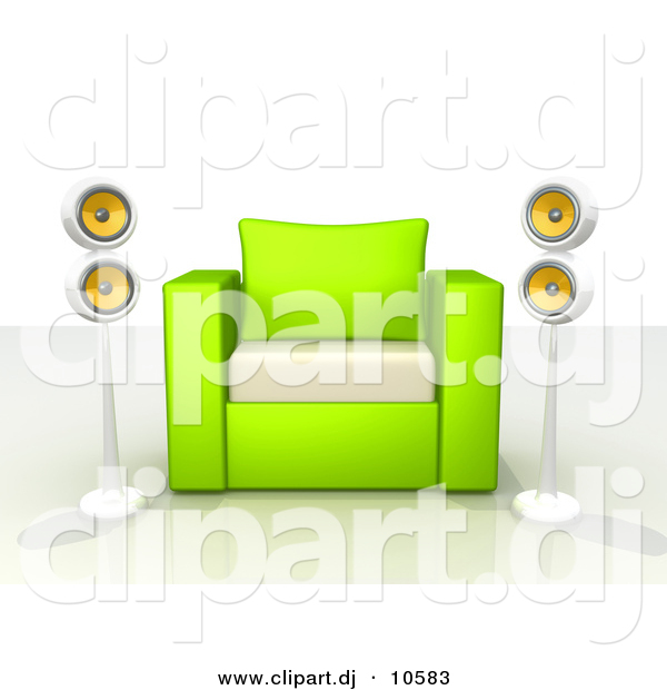 3d Clipart of a Green and White Chair Centered Between 2 Surround Sound Speakers