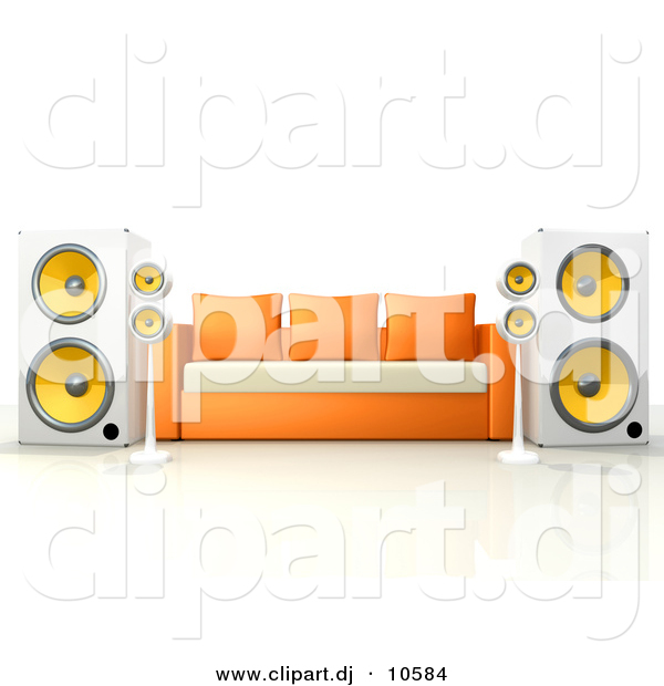 3d Clipart of a Living Room Sofa Surrounded by Large Speakers