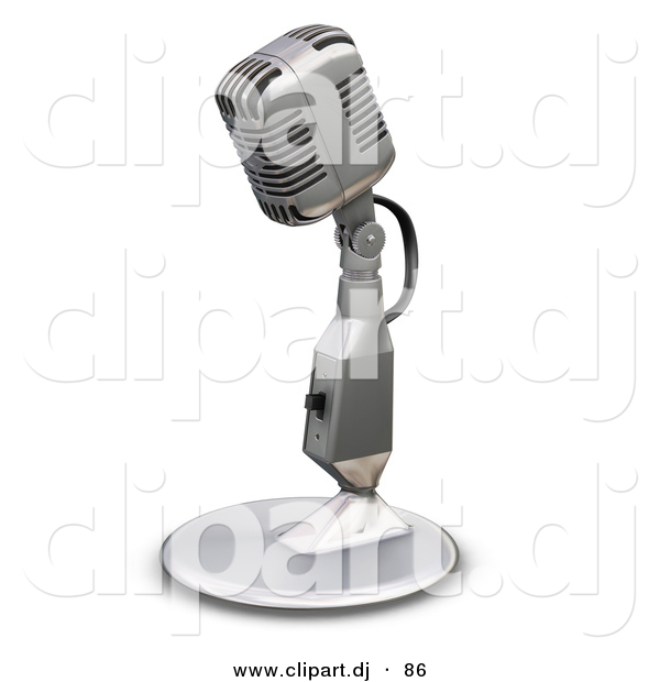 3d Clipart of a Metal Microphone with a Stand