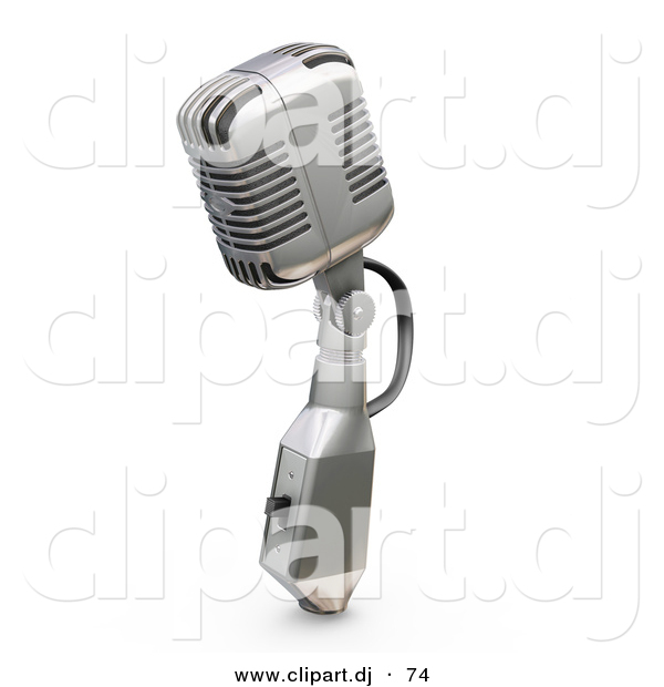 3d Clipart of a Metal Microphone with a Switch Against White