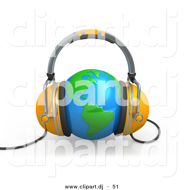 3d Clipart of a Orange Headphones over Blue Globe