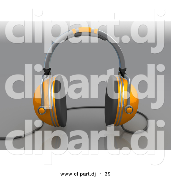 3d Clipart of a Orange Headphones with Wire over Grey Background