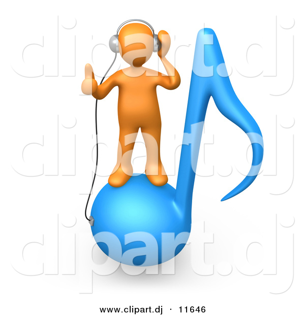 3d Clipart of a Orange Man Wearing Headphones While Standing on Blue Music Note