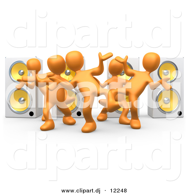 3d Clipart of a Orange People Dancing at a Party in Front of 4 Speakers