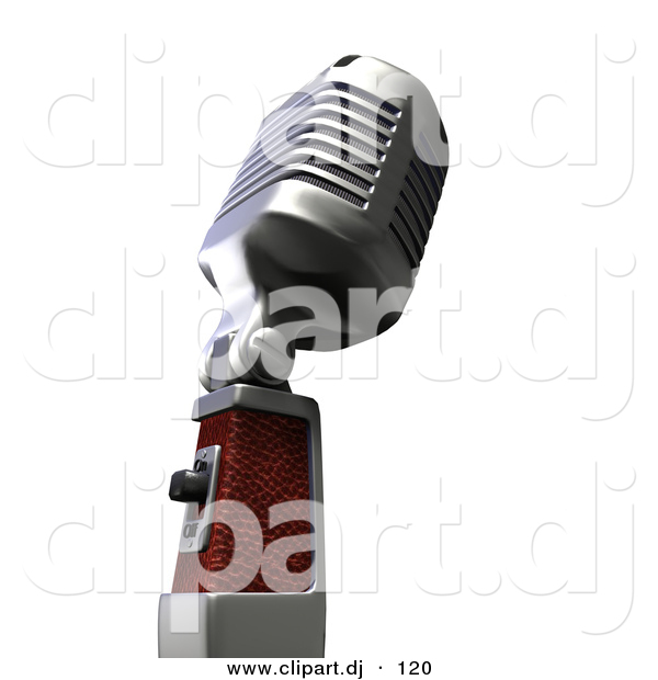 3d Clipart of a Retro Metal Microphone from Side Angle