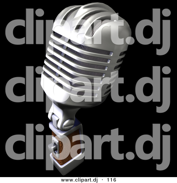 3d Clipart of a Retro Metal Microphone on Black